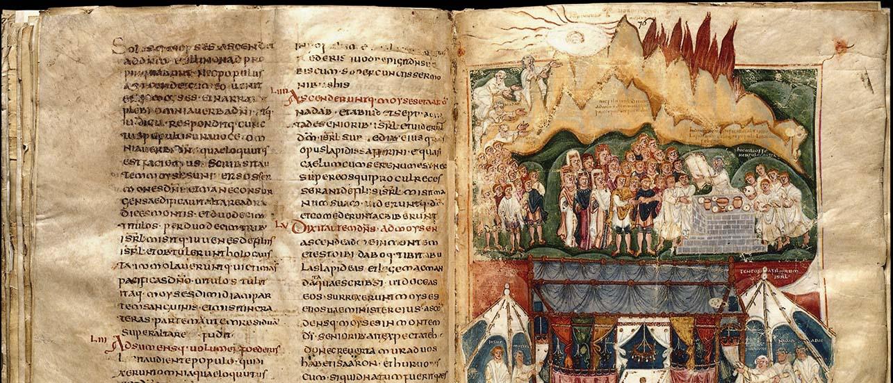 Ce manuscrit, du Ve ou VIe siècle, a été réalisé en Afrique du Nord (ou Espagne ou Italie). Il contient les cinq premiers livres de la Bible (Pentateuque). En haut : Moïse recevant les tables de la Loi. Au milieu : Moïse lit les tables de la Loi aux Hébreux. En bas : le Tabernacle ; de chaque côté, sous des tentes, se tiennent Moïse et Josué, Aaron, Nadab et Abihu. ©BnF MSS NAL 2334 fol 75v 76
