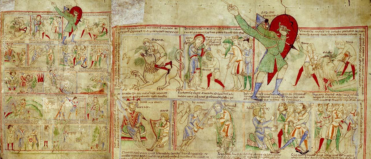 L'histoire du roi David est racontée sous forme de bande dessinée dans la Bible d'Étienne Harding qui contenait plusieurs autres illustrations. (Bible Étienne Harding ©BM Dijon MS 14 f13)