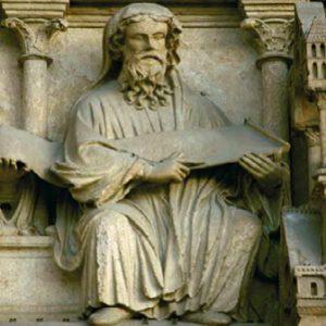 Prophète attirant l'attention sur sa prophétie. Cathédrale Notre Dame de Paris