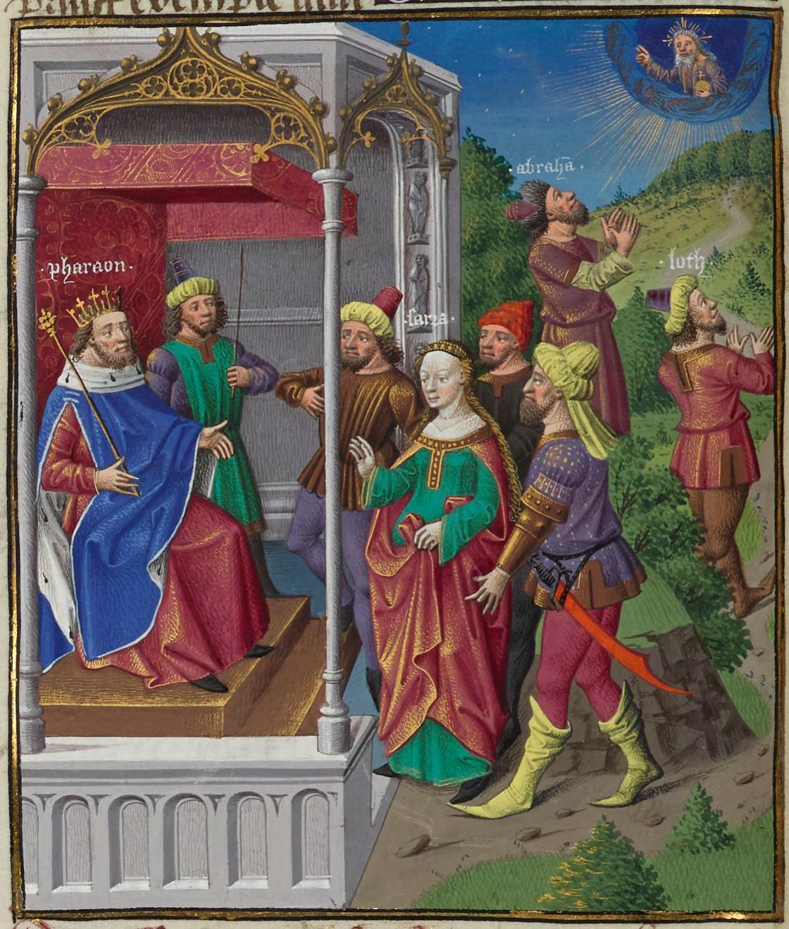Sara devant Pharaon Abraham et Loth priant