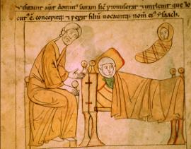 La naissance d'Isaac - Bible de Pampelune - BM Amiens