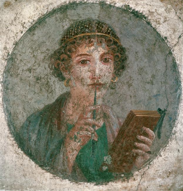 Jeune femme avec un codex à pompéi