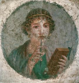 Jeune femme avec un codex Pompeï