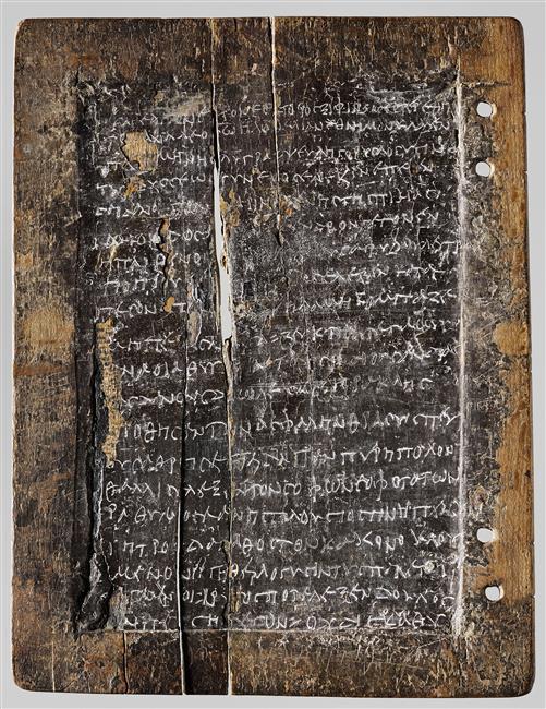Tablette à écrire en bois recouverte de cire avec inscriptions