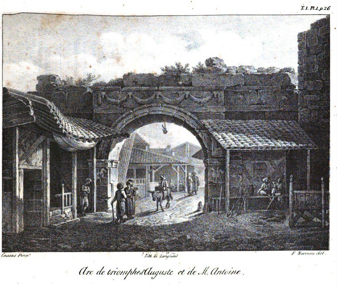 Arc de triomphe de la porte vardar a thessalonique par cousinery 1831