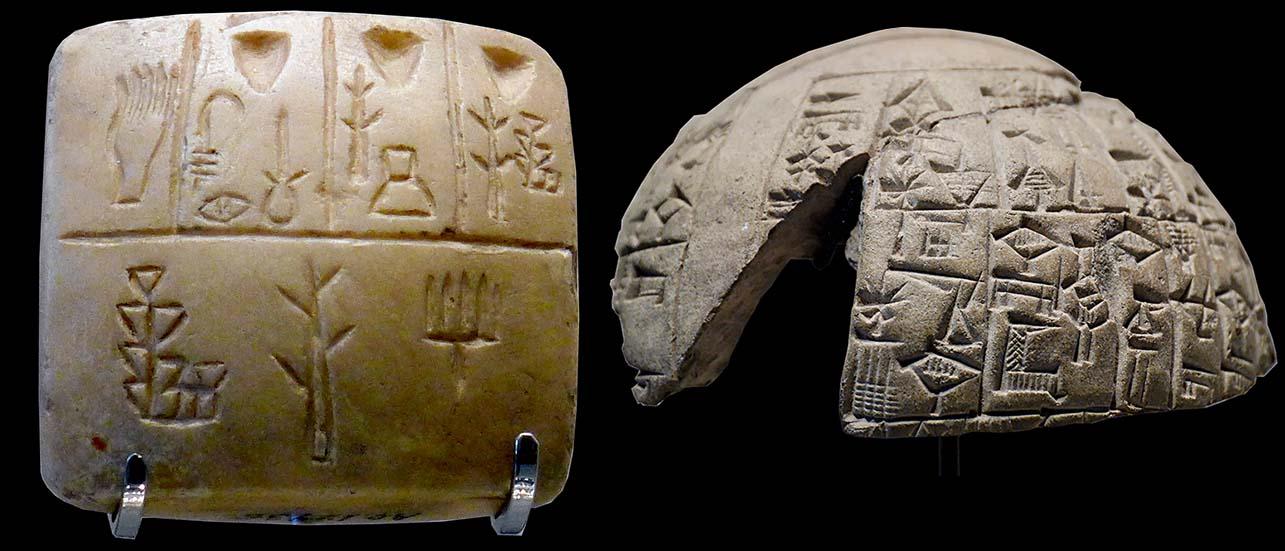 La tablette en écriture pré-cunéiforme date de l'époque Uruk III, fin du IVe millénaire avant notre ère. (Musée du Louvre AO19936) Sur ce fragment de cône, Eannatum, prince de Lagash, rapporte un conflit frontalier opposant Lagash à Umma en 2430 avant notre ère. (Musée du Louvre AO 4442, AO 4597)